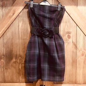 Purple plaid strapless dress belt and pockets